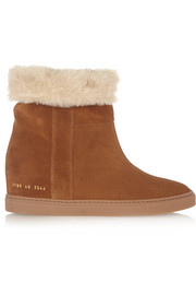 Faux shearling-lined suede wedge ankle boots