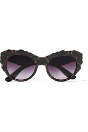 Dolce & Gabbana Cat-eye appliquéd acetate sunglasses