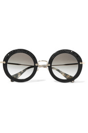 Round-frame crystal-embellished acetate, suede and gold-tone sunglasses