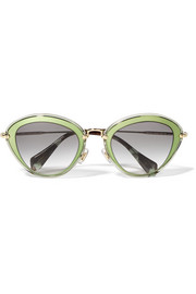 Cat-eye acetate and metal sunglasses