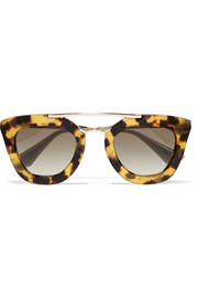 Prada D-frame acetate and gold-tone sunglasses