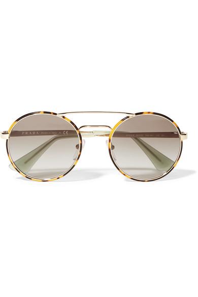 7ecb7cecdf59 Prada | Round-frame acetate and gold-tone sunglasses | NET-A-PORTER.COM