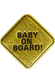 Anya Hindmarch Baby On Board metallic textured-leather sticker