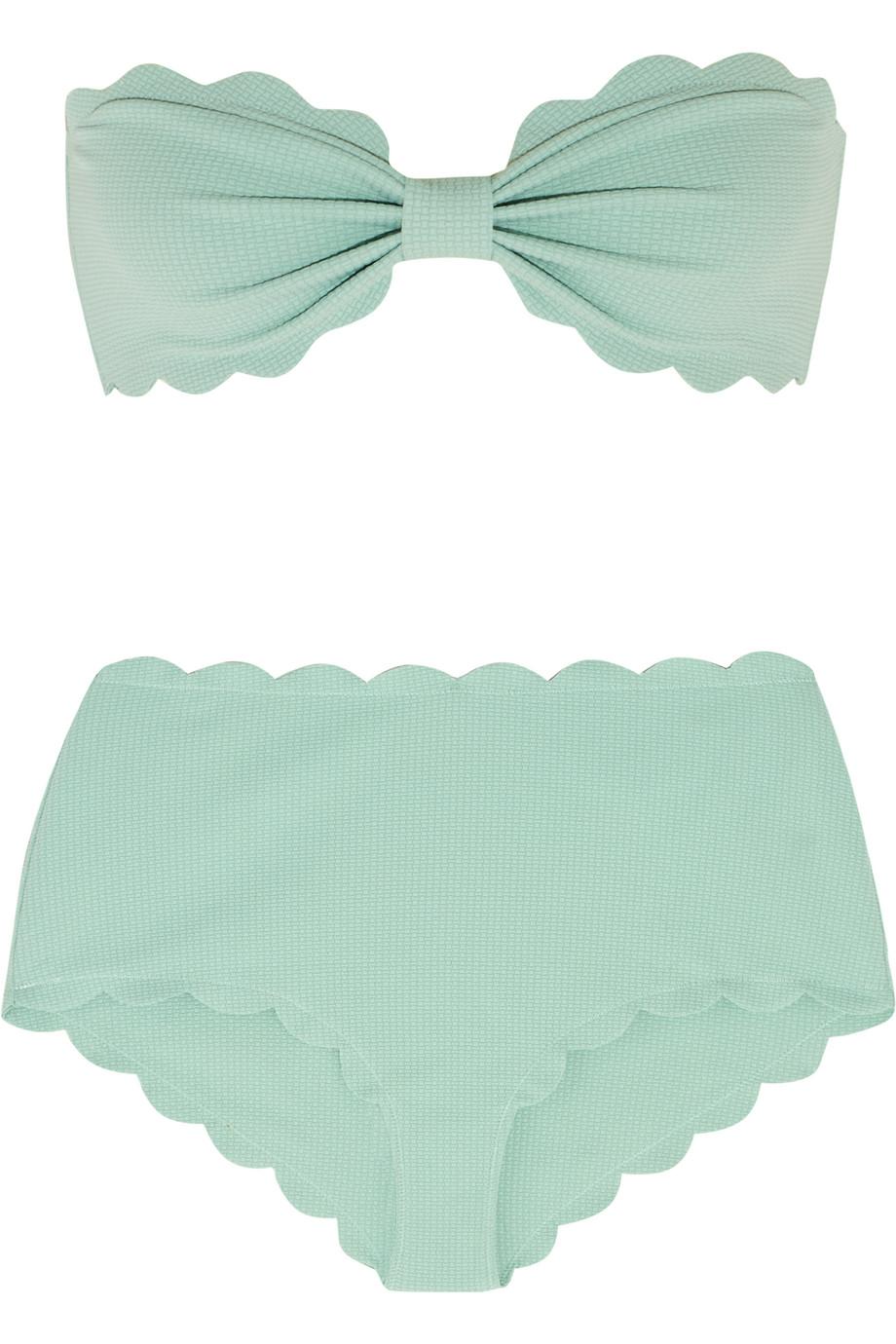 Marysia Antibes and Santa Monica Scalloped Bandeau Bikini, Mint, Women's, Size: XS