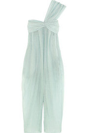Venice one-shoulder plissé cotton and silk-blend voile jumpsuit