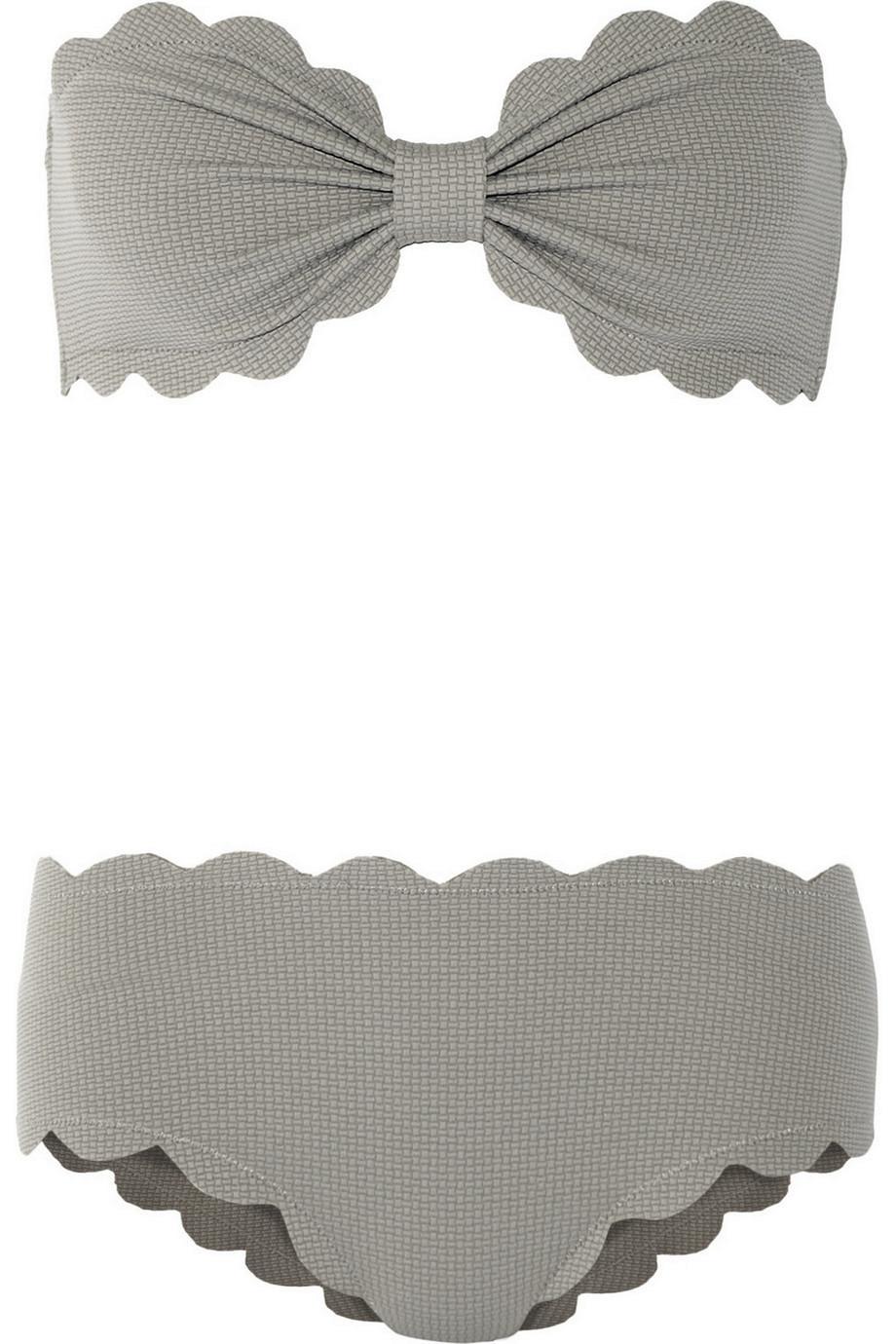 Marysia Antibes and Spring Scalloped Bandeau Bikini, Gray, Women's, Size: XS