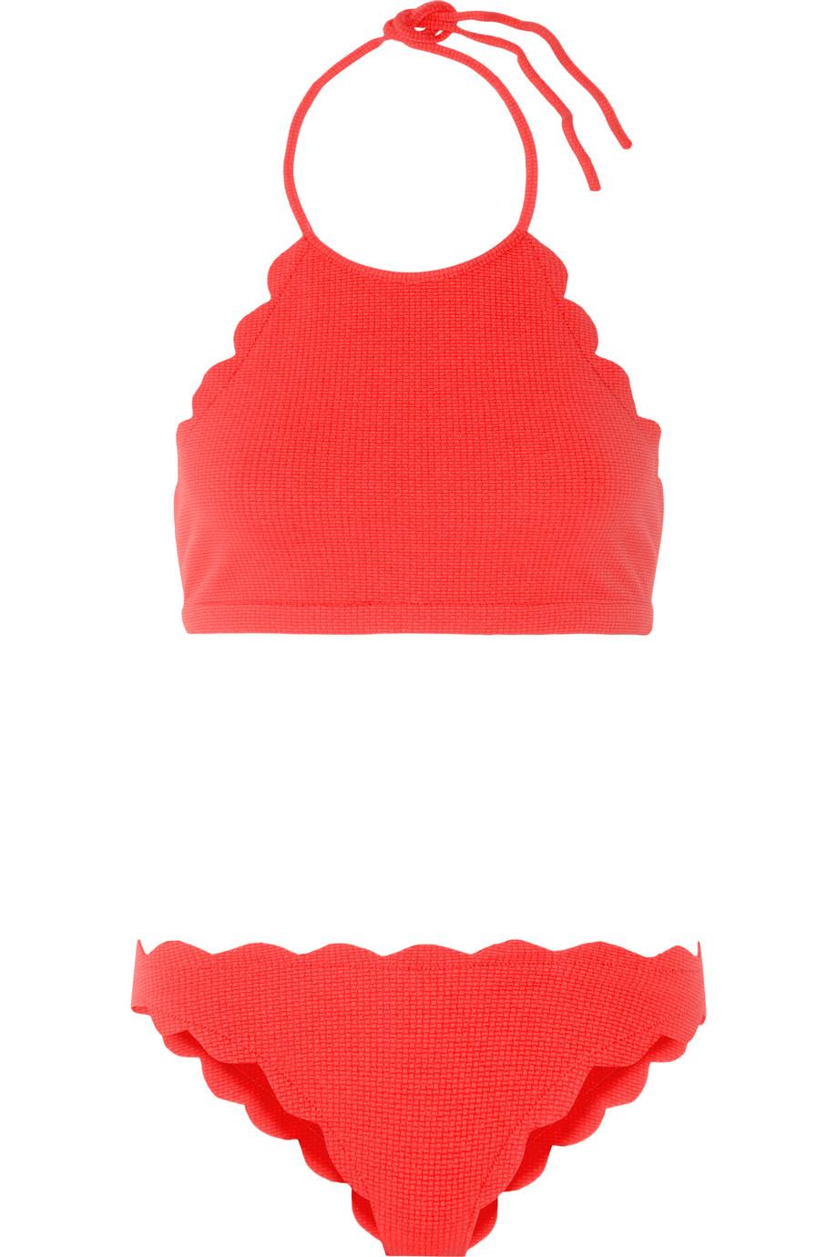 Marysia Mott and Antibes Scalloped Halterneck Bikini, Red, Women's, Size: XS