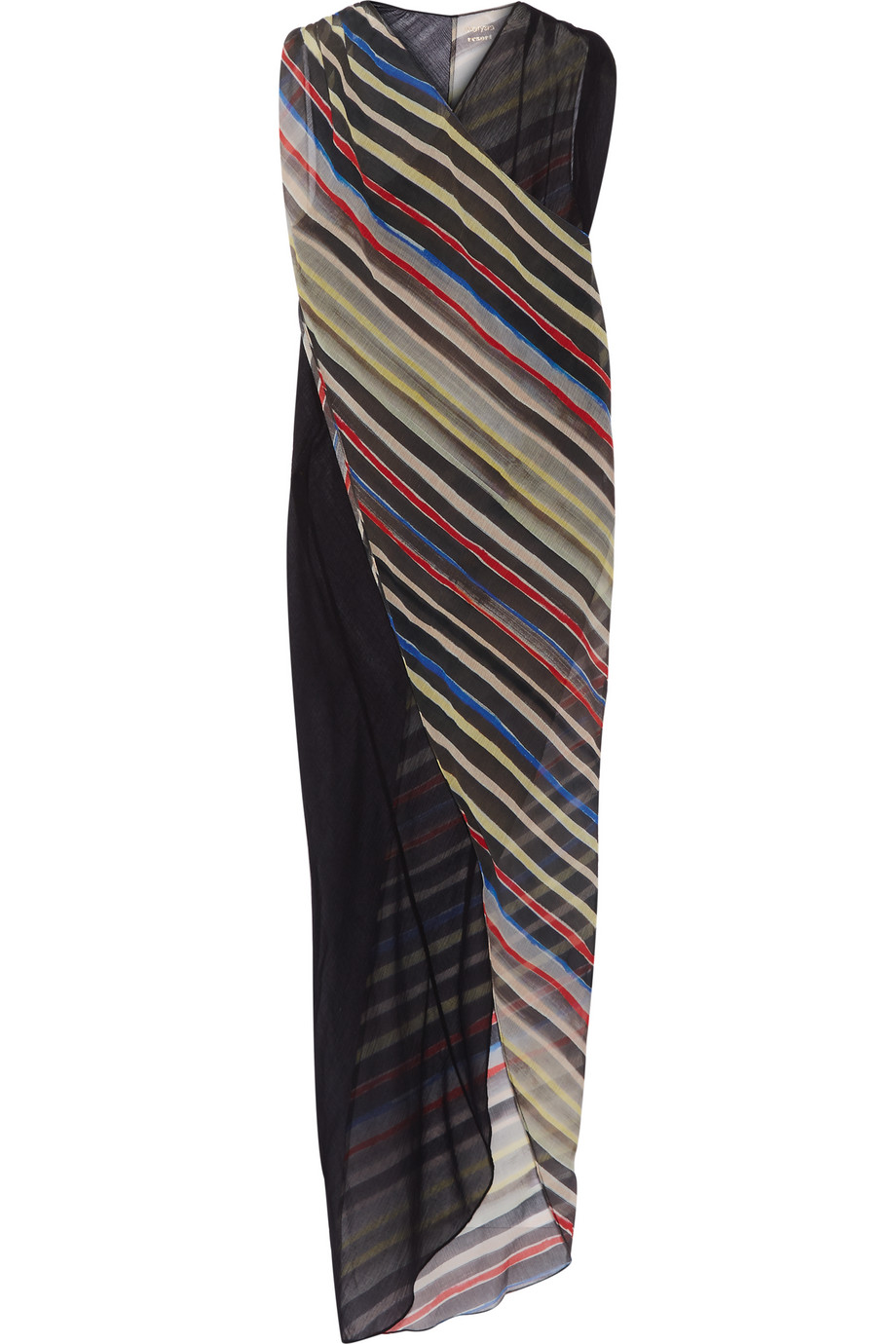 Marysia Newport Striped Cotton and Silk-Blend Wrap Dress, Black, Women's - Striped