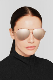Victoria Beckham Aviator-style leather-trimmed rose gold-tone mirrored sunglasses
