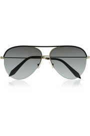 Aviator-style gold-tone and leather sunglasses