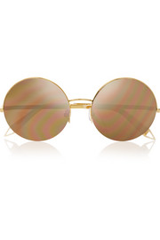 Supra round-frame metal mirrored sunglasses