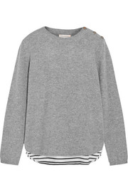 Chinti and Parker Striped cotton jersey-paneled cashmere sweater