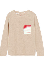 Striped cotton-paneled cashmere sweater