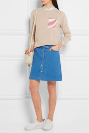 Chinti and Parker Striped cotton-paneled cashmere sweater