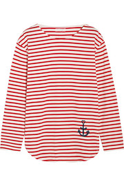 Striped organic cotton-jersey top