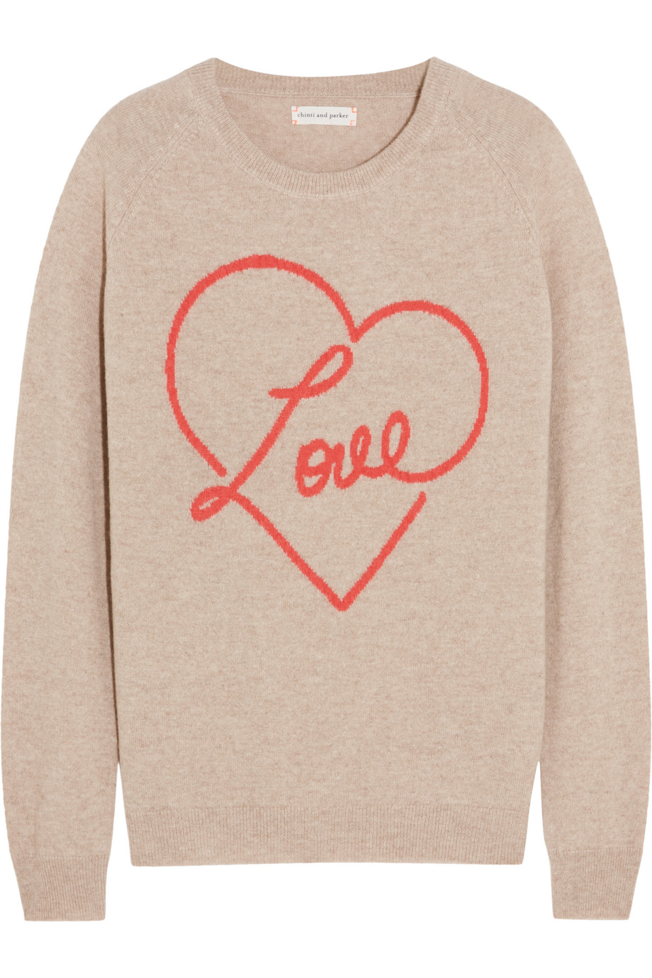 Love Intarsia Cashmere Sweater, Chinti and Parker, Mushroom, Women's