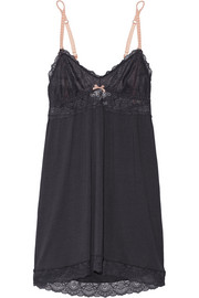 Daphne lace-trimmed stretch-jersey chemise