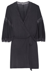 Daphne lace-trimmed stretch-jersey robe