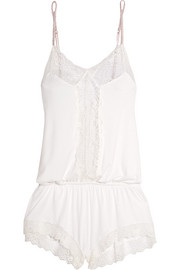 Magnolia cutout lace-paneled stretch-jersey playsuit