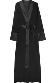 Edenic silk satin-trimmed stretch-silk georgette robe