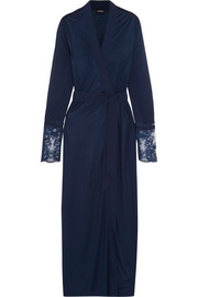 La Perla Whisper Leavers lace-paneled stretch-jersey and silk-georgette robe