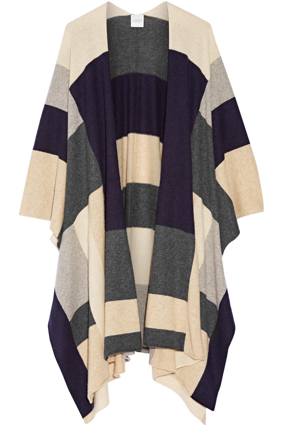 Color-Block Cashmere Wrap, Madeleine Thompson, Gray/Neutral, Women's