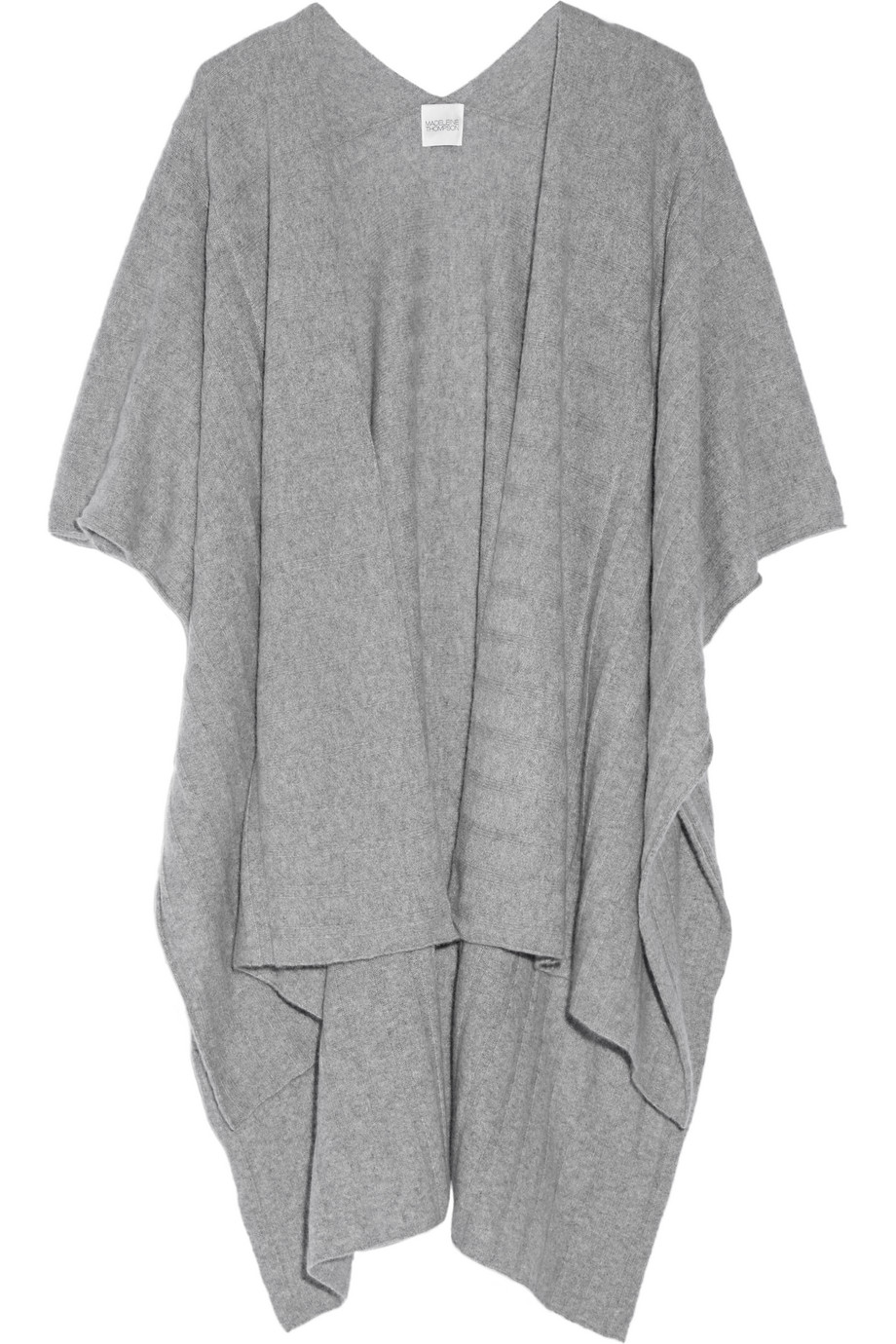 Ribbed Cashmere Wrap, Madeleine Thompson, Light Gray, Women's