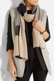 Color-block cashmere scarf
