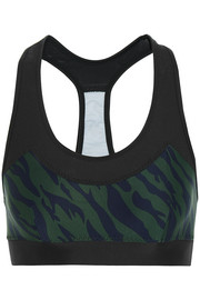Chrissy printed stretch-jersey and mesh sports bra