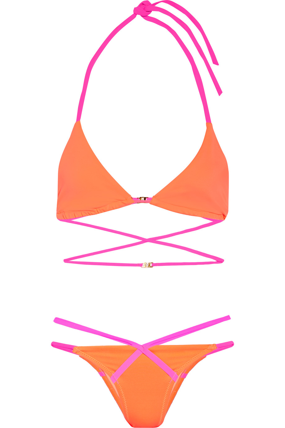 Eleena Two-Tone Triangle Bikini, L'agent by Agent Provocateur, Coral/Fuchsia, Women's