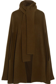 Ribbed merino wool and cashmere-blend cape