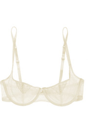 Tara lace-trimmed point d'esprit balconette bra