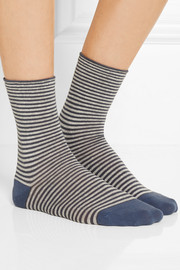 Set of two striped stretch cotton-blend socks