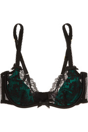 Phyllis stretch-Leavers lace and satin underwired bra