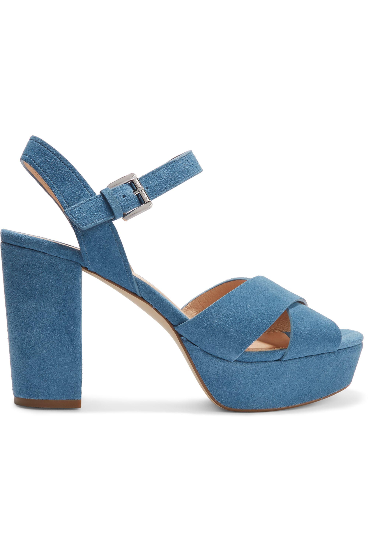 Blue Divia suede platform sandals