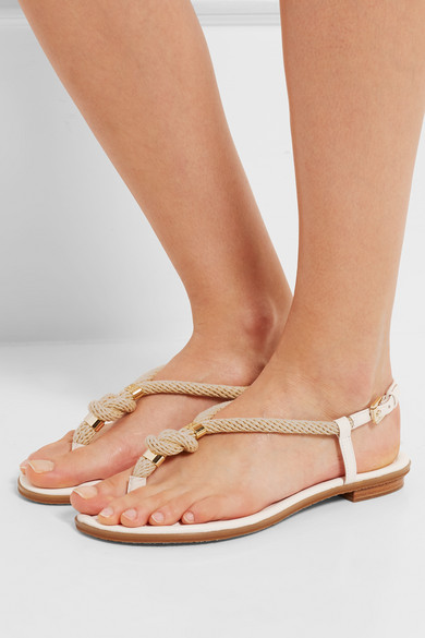 97e376fb768d MICHAEL Michael Kors. Holly rope-trimmed leather sandals