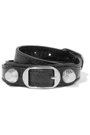 Giant Triple Tour textured-leather and silver-tone bracelet