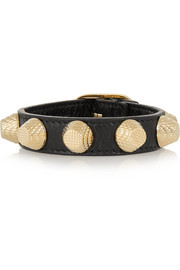 Giant textured-leather and gold-tone bracelet