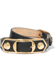 Balenciaga Triple Tour textured-leather and gold-tone bracelet