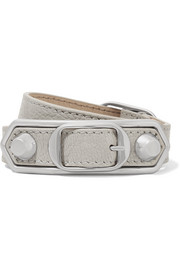 Balenciaga Triple Tour textured-leather and silver-tone bracelet