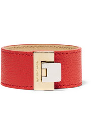 Le Dix textured-leather and gold-tone bracelet
