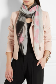 Printed cotton and silk-blend scarf