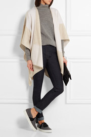 Two-tone cashmere and wool-blend wrap