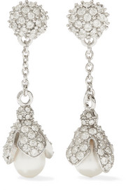 Lily silver-tone, pearl and crystal earrings
