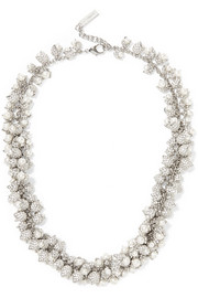 Lily silver-tone, pearl and crystal necklace
