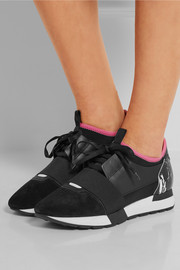 Leather, suede and neoprene sneakers