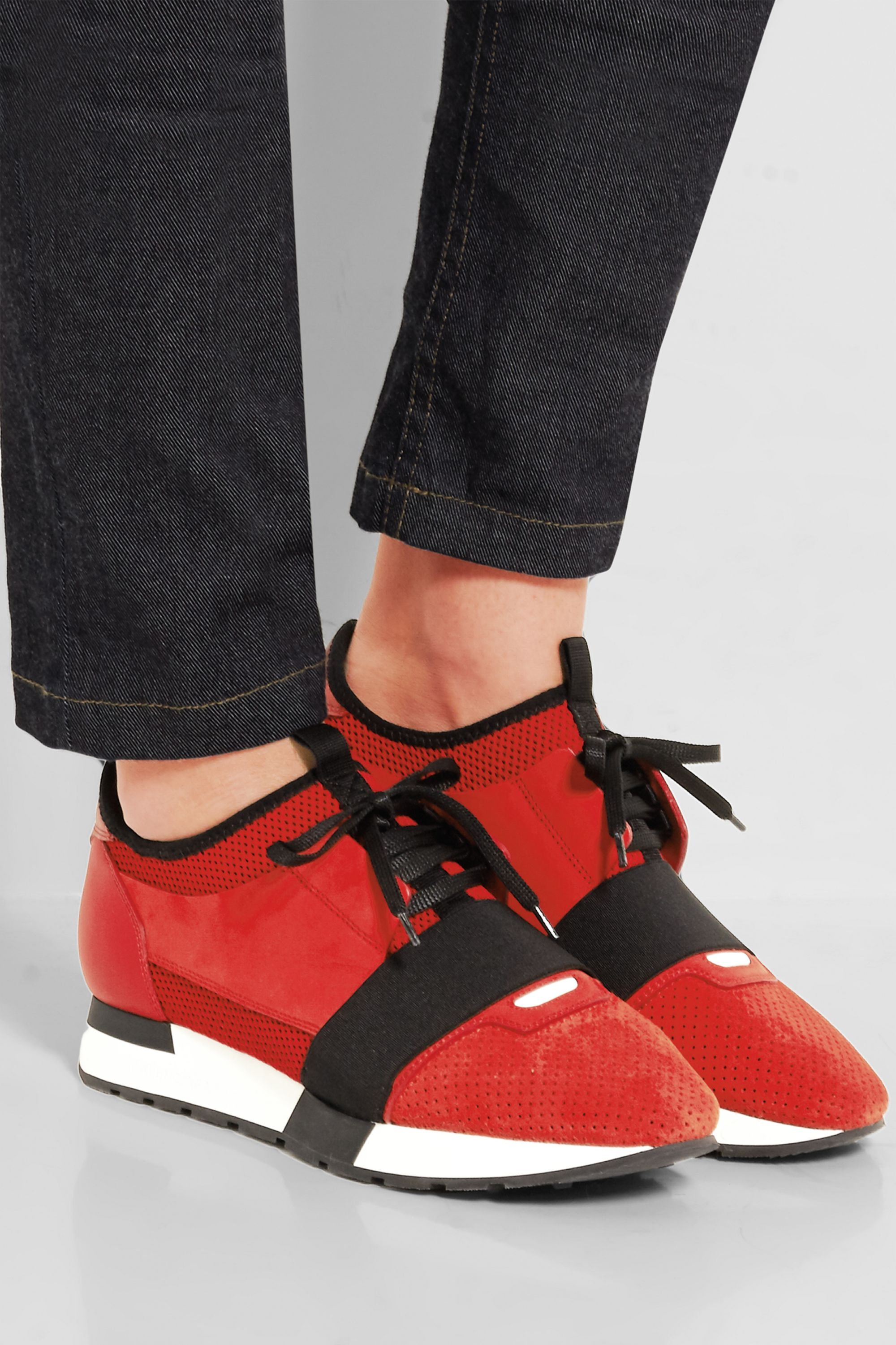Red Race Runner leather, mesh, suede