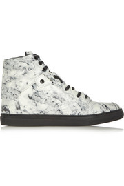 Printed leather high-top sneakers