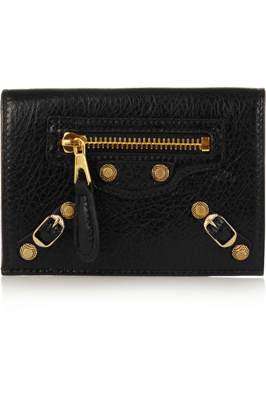 Balenciaga Arena Textured-Leather Wallet, Black, Women's