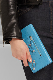 Arena studded textured-leather wallet